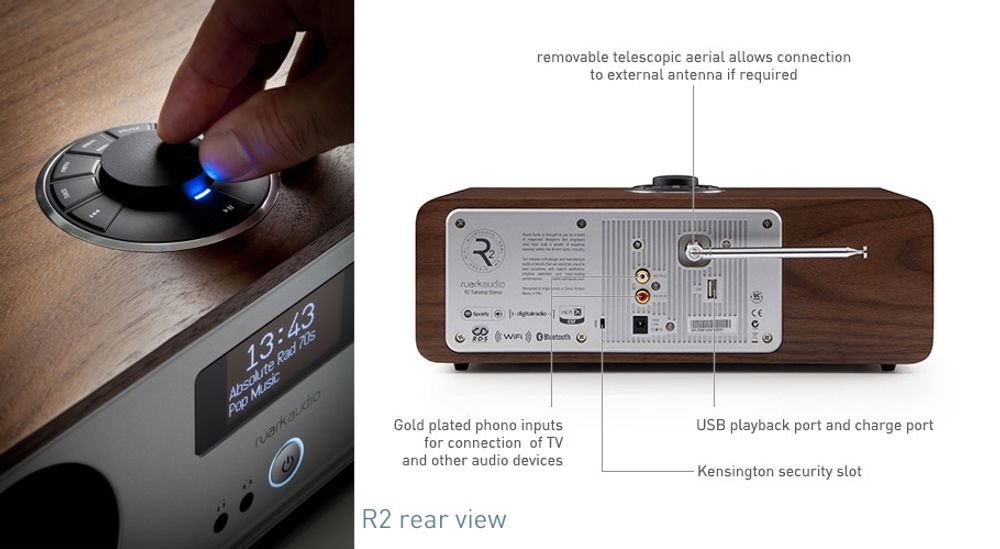 Radio FM RDS, DAB, DAB+ avec connectivité Bluetooth® et Wi-Fi™ - RUARK AUDIO R2 MK3