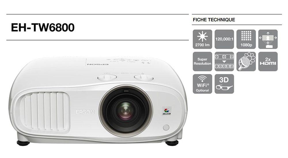 Vidéoprojecteur Full HD Tri-LCD  avec 3D active - EPSON EH-TW6800