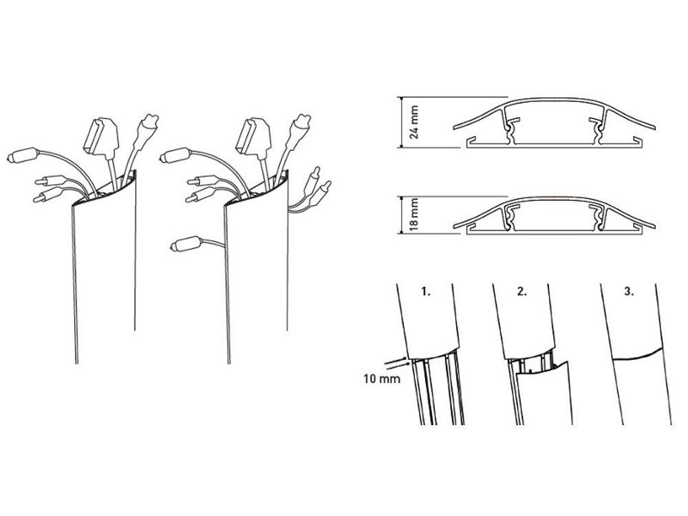 erard slim goulotte 1100 mm blanc 007978 supports tv. Black Bedroom Furniture Sets. Home Design Ideas