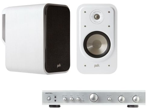 ROTEL A10 Silver + POLK SIGNATURE S20 Blanc