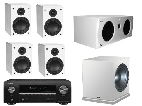 DENON AVR-X1600H Noir + ADVANCE Pack 5.1 KUBIK K3 SE + K CENTER + SUB 200 Blanc