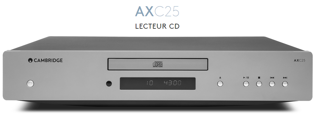 Lecteur CD Hi-Fi compatible CD/CD-R/-RW et CD-ROM gravés MP3 ou WMA - CAMBRIDGE AXC25