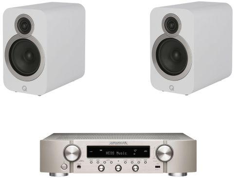 Marantz NR1200 Silver Gold + Q Acoustics 3020i Blanc