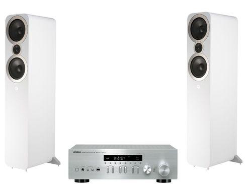Yamaha R-N402D Silver + Q Acoustics 3050i Blanc
