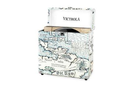 VICTROLA Valise à vinyles carte imprimée